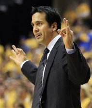 Miami Heat head coach Erik Spoelstra argues a call during the second half of Game 3 of their NBA basketball Eastern Conference semifinal playoff series against the Indiana Pacers, Thursday, May 17, 2012, in Indianapolis. Indiana won 94-75. (AP Photo/Darron Cummings)