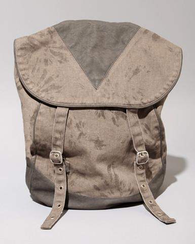 Grey Twill and Leather Backpack, $126, at Pixie Market