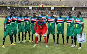 South Sudan's players pose on June 13, 2015 in …