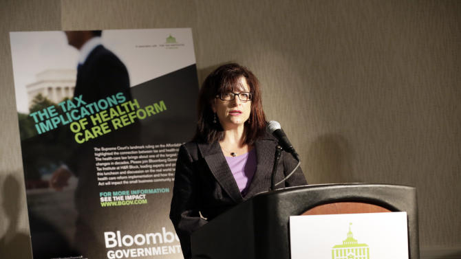 Kathy Pickering, Executive Director of The Tax Institute at H&R Block, speaks during an event on the tax implications of health care reform in Springfield, Ill., Wednesday, April 10, 2013. The event is part of a multi-city engagement tour hosted by The Tax Institute at H&R Block and Bloomberg Government examining the effects of the Affordable Care Act on consumers, small businesses and the uninsured.  (AJ Mast / AP Images for The Tax Institute at H&R Block)