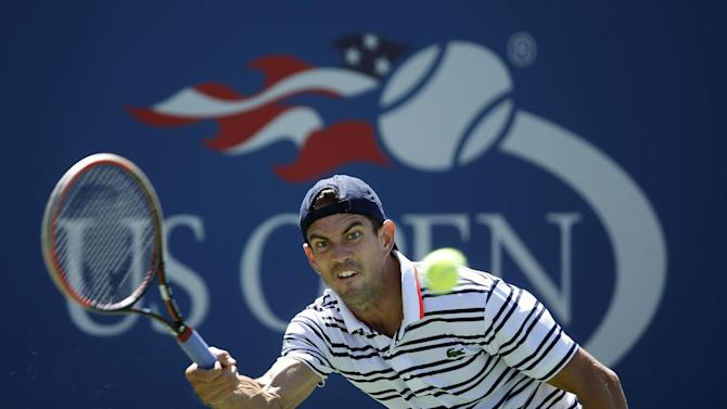 Guillermo Garcia-Lopez, of Spain, returns a shot to Tomas Berdych, of the Czech Republic, during the third round of the U.S. Open tennis tournament, Saturday, Sept. 5, 2015, in New York. (AP Photo/Jason DeCrow)