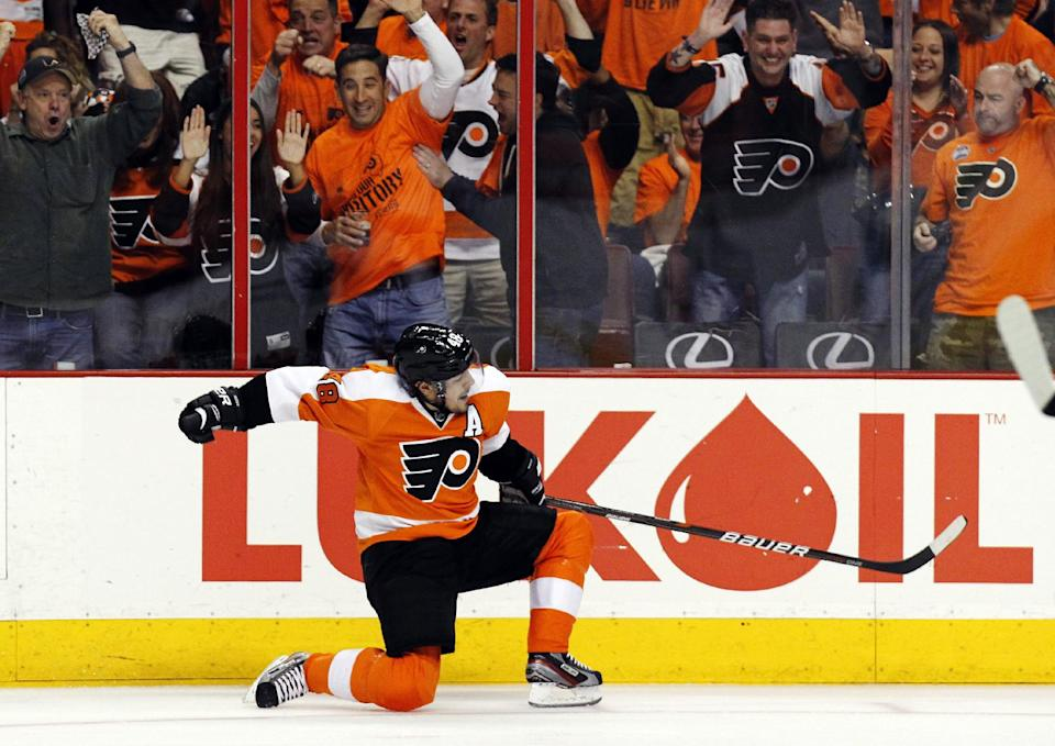 Philadelphia Flyers center Danny Briere (48) reacts after his goal in the second period of Game 1 against the New Jersey Devils in a second-round NHL Stanley Cup hockey playoff series, Sunday, April 29, 2012, in Philadelphia. (AP Photo/Alex Brandon)