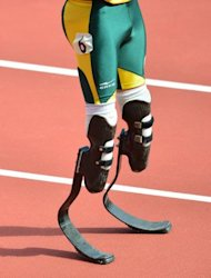 A close-up of South Africa&#39;s double amputee athlete Oscar Pistorius&#39; blades prior to the start of the men&#39;s 400m heats at the London 2012 Olympic Games