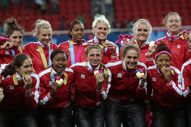 Canada's players celebrate at the end of the women's soccer gold medal match against Brazil at the Pan American Games in Guadalajara, Mexico, Thursday, Oct. 27, 2011. Canada won 4-3 on penalty kicks.