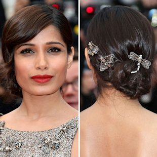 Freida Pinto showcased a stunning red carpet hair look at Cannes [Rex]