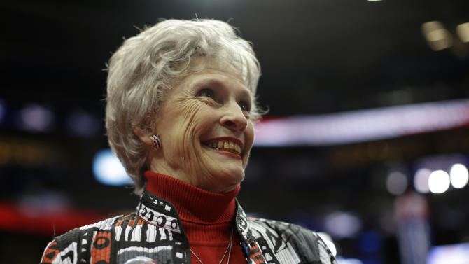 Dorothy Crockett from Osceola, Ark. smiles on the floor of the Republican National Convention in Tampa, Fla., on Monday, Aug. 27, 2012. (AP Photo/Charles Dharapak)