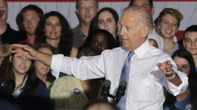 FILE - In this July 19, 2012 file photo, Vice President Joe Biden campaigns in Columbus, Ohio. Democrats are eagerly renewing their fight against privatizing Social Security now that Republican presidential candidate Mitt Romney has picked Paul Ryan as his running mate. It was a fight that didnít go well for the GOP back when former President George W. Bush pushed the idea in 2005.   (AP Photo/Jay LaPrete, File)