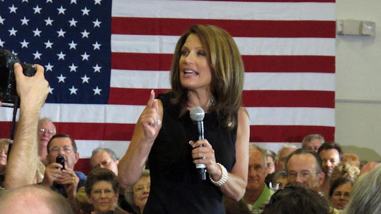 Republican presidential candidate Rep. Michele Bachmann, R-Minn., speaks during a Sunday, Aug. 28, 2011, rally in Sarasota, Fla. (AP Photo/Brendan Farrington)