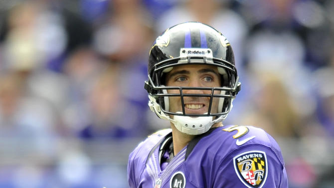 Baltimore Ravens quarterback Joe Flacco looks for a receiver in the first half of an NFL football game against the Dallas Cowboys in Baltimore, Sunday, Oct. 14, 2012. (AP Photo/Gail Burton)