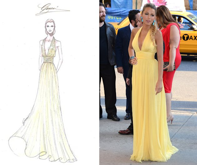 Blake Lively yellow Gucci dress Savages