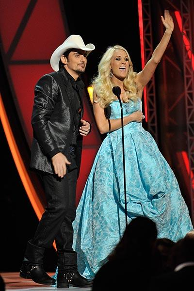 Carrie Underwood in a turquoise ball gown
