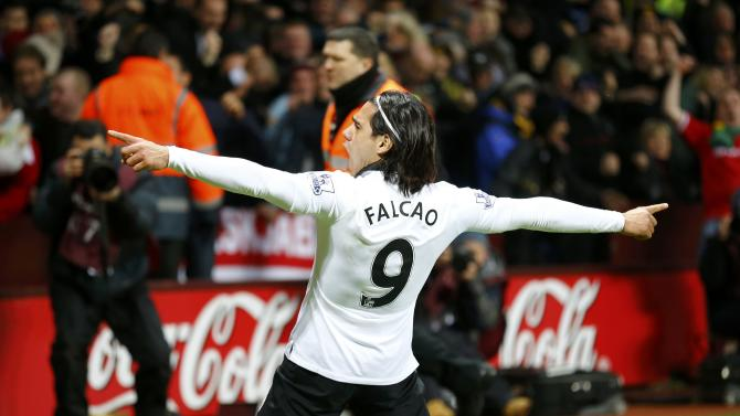 Manchester United's Radamel Falcao celebrates after scoring a goal during their English Premier League soccer match against Aston Villa at Villa Park in Birmingham