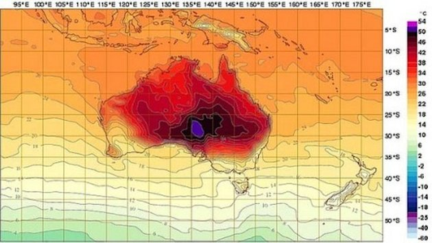 Australia weather map adds new colors for record breaking heat (Image via Bureau of Meteorology)""