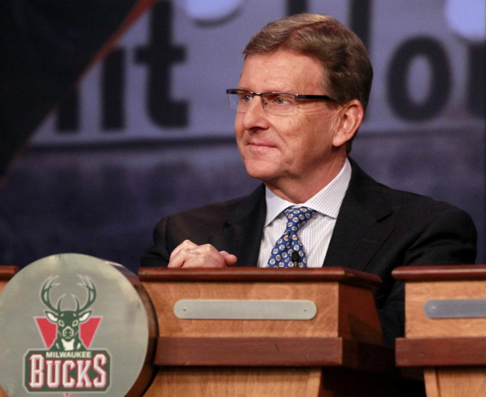 John Hammond, general manager of the Milwaukee Bucks, attends the 2011 NBA basketball draft lottery, Tuesday, May 17, 2011 in Secaucus, N.J. (AP Photo/Julio Cortez)
