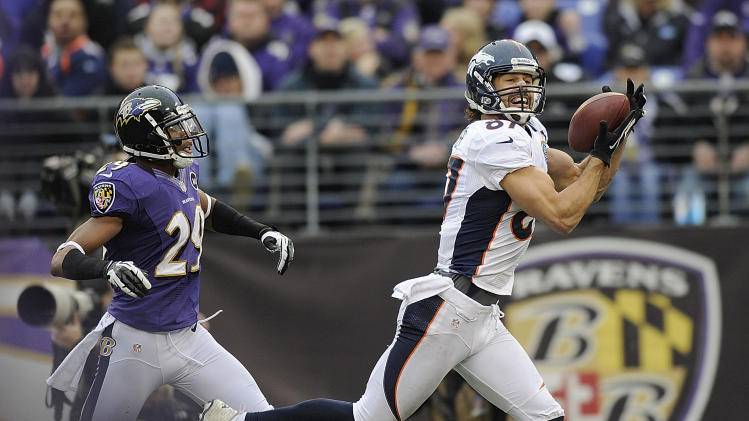 Denver Broncos wide receiver Eric Decker pulls in a touchdown pass as Baltimore Ravens cornerback Cary Williams looks on during the second half of an NFL football game in Baltimore, Sunday, Dec. 16, 2012. (AP Photo/Nick Wass)