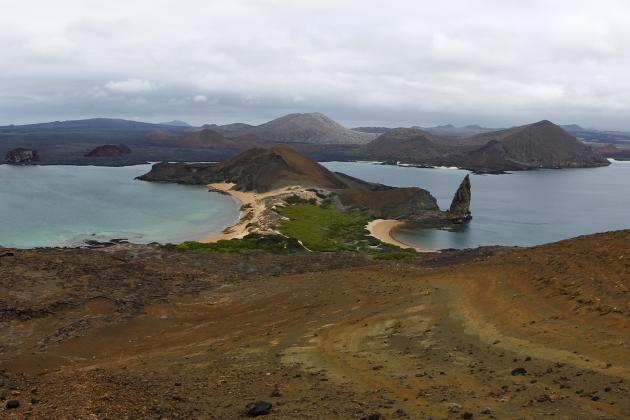 The view from the top of Bartolome Island in Galapagos