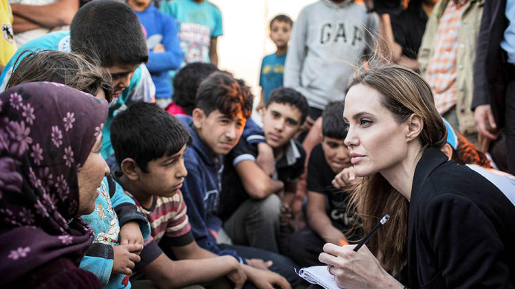 Angelina Jolie Listening To Syrian Refugees In A Jordanian Military Camp
