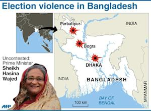 Map of Bangladesh showing three of the places where…