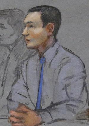 In this May 13, 2014 file courtroom sketch, defendant Azamat Tazhayakov, a college friend of Boston Marathon bombing suspect Dzhokhar Tsarnaev, sits during a hearing in federal court in Boston. His federal trial is set to begin Monday, July 7, 2014 in Boston on obstruction of justice charges. Tazhayakov, of Kazakhstan, is accused with another friend of removing items from Tsarnaev's dorm room, but is not charged with participating in the bombing or knowing about it in advance. (AP Photo/Jane Flavell Collins, File)