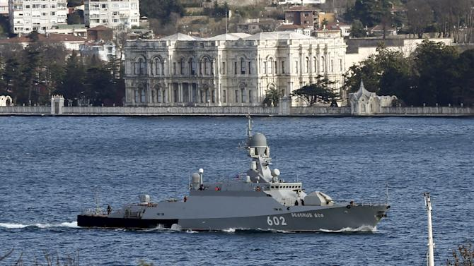 The Russian Navy's missile corvette Zeleny Dol sails in the Bosphorus, on its way to the Mediterranean Sea, in Istanbul