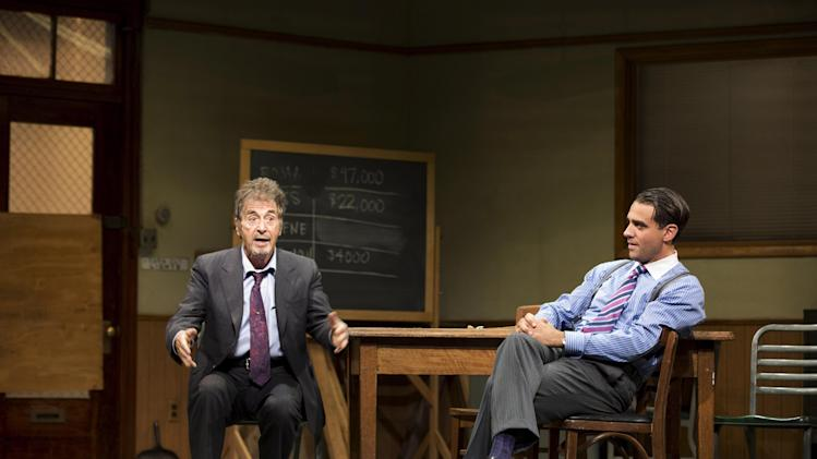 "FILE - This undated publicity file photo provided by Jeffrey Richards Associates shows Al Pacino, left, and Bobby Cannavale, in a scene from ""Glengarry Glen Ross"" at the Gerald Schoenfeld Theatre in New York. Producers said Wednesday, Dec. 19, 2012 said that the Al Pacino-led revival that marks the 30th anniversary of David Mamet's Pulitzer Prize-winning play about the backbiting world of salesmen has recouped its $3.3 million investment.(AP Photo/Jeffrey Richards Associates, File)"
