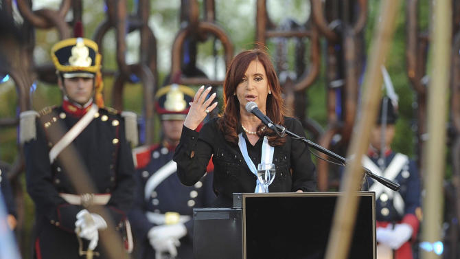Argentina's President Cristina Fernandez delivers a speech during a ceremony to commemorate the Sovereignty Day in San Pedro, Argentina, Tuesday, Nov. 20, 2012. Fernandez faced on Tuesday a nationwide strike led by union bosses who once were her most steadfast supporters. (AP Photo/Raul Ferrari,Telam)