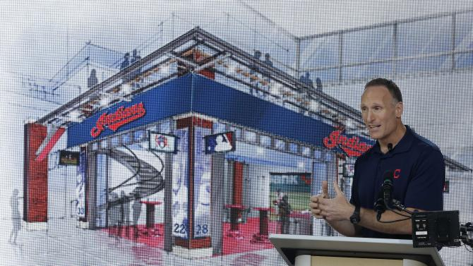 Cleveland Indians president Mark Shapiro talks about the new climate-controlled, two-story bar in right field at Progressive Field Thursday, Aug. 7, 2014, in Cleveland. The changes to Progressive Field will include a new two-story bar, and an expanded section for children and other amenities. Most of the changes will be in the right-field sections. The work is expected to be mostly completed by opening day next season and will reduce seating capacity from 43,000 to about 38,000. (AP Photo/Tony Dejak)