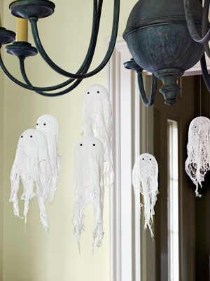Hanging Cheesecloth Ghosts