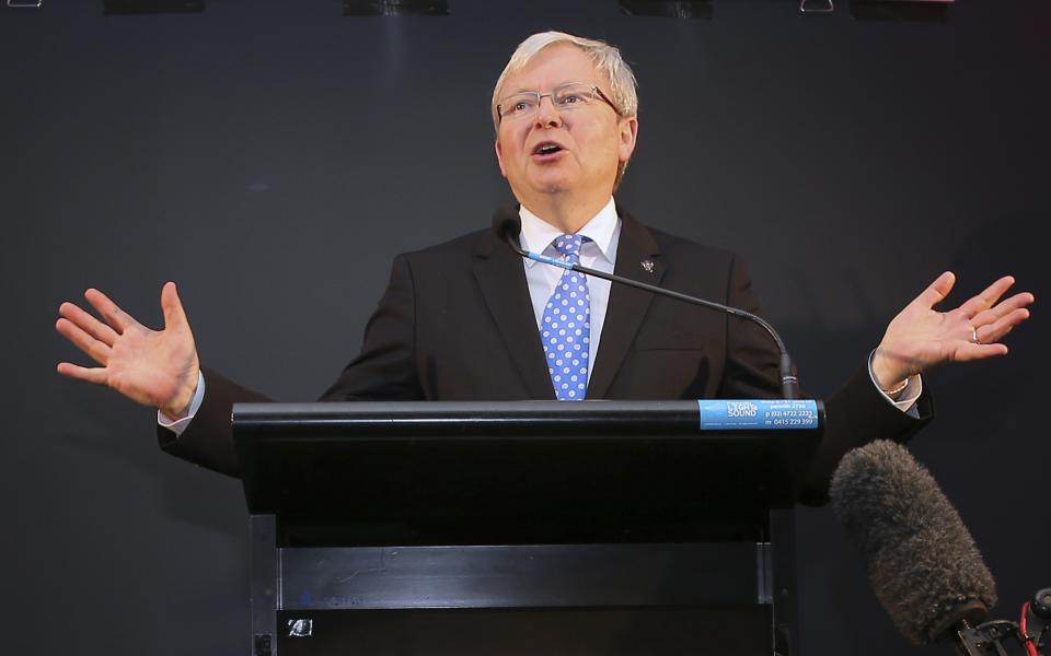Australia's Prime Minister Kevin Rudd delivers a speech at a pre-election rally in Mt. Druitt, Australia, Friday, Sept. 6, 2013. Australian's will go to the polls on Sept. 7, 2013 during the Federal election to choose the 44th Parliament of Australia.(AP Photo/Rob Griffith)
