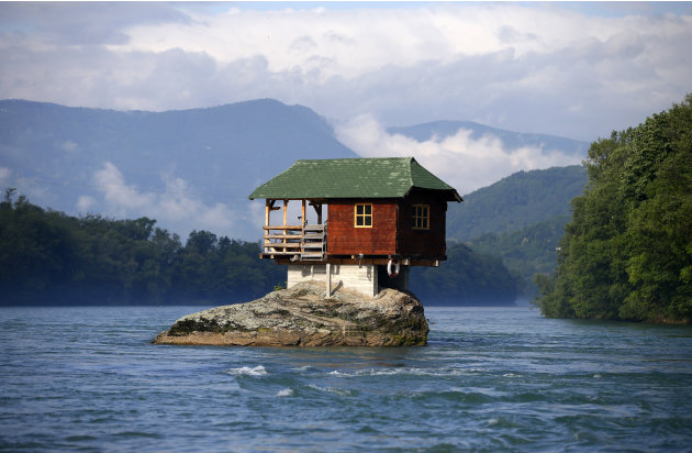 A house built on a rock on the river Drina is seen near the western Serbian town of Bajina Basta