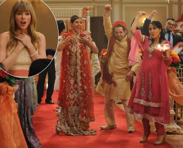 Hannah Simone and Satya Bhabha on the Season 2 season finale episode of 'New Girl'/ inset: Taylor Swift -- FOX