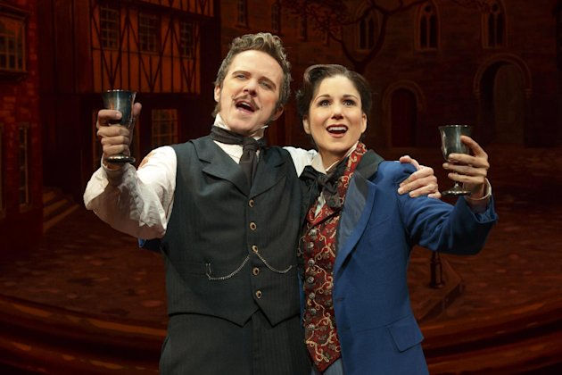 "This theater image released by Boneau-Bryan/Brown shows Will Chase, left, and Stephanie J. Block in a scene from ""The Mystery of Edwin Drood,"" playing at the Roundabout Theatre Company at Studio 54 in New York. (AP Photo/Boneau-Bryan/Brown, Joan Marcus)"