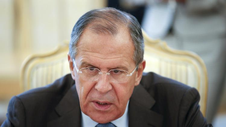 Russian Foreign Minister Sergei Lavrov speaks during a meeting with his Iranian counterpart Javad Zarif in Moscow