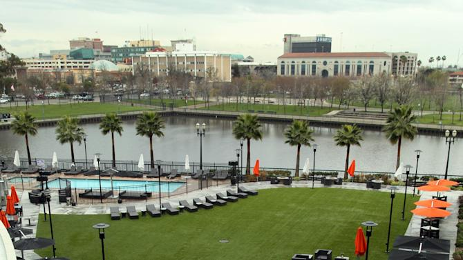 File - In this Feb. 29, 2012 file photo the Stockton waterfront is seen from the Waterfront Hotel in Stockton, Calif.  A judge accepted the California city of Stockton's bankruptcy application on Monday April 1, 2013, making it the most populous city in the nation to enter bankruptcy.   (AP Photo/Ben Margot, File)