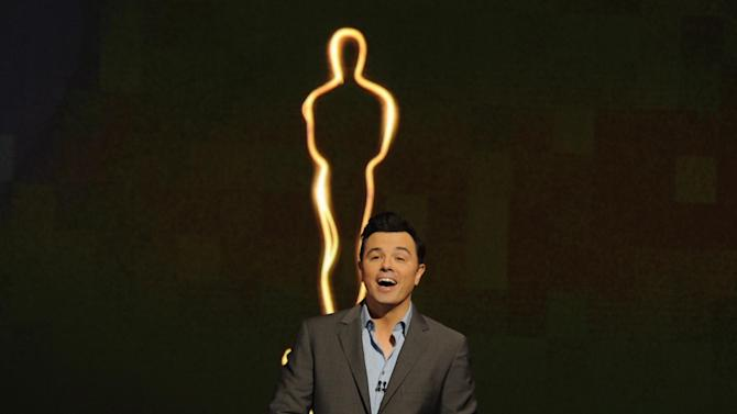 FILE - In this Jan. 13, 2013 file photo, 2013 Oscar host Seth MacFarlane presents the Academy nominations for the 85th Academy Awards in Beverly Hills, Calif. MacFarlane discussed his preparations for the Oscar ceremony during interviews Tuesday, Feb. 12, 2013, at the Dolby Theatre. The 85th Annual Academy Awards will take place on Sunday, Feb. 24 at the Dolby Theatre in Los Angeles. (Photo by Chris Pizzello/Invision/AP Photo, File)