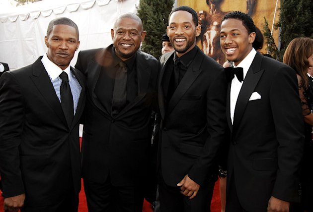 Jamie Foxx, Forest Whitaker, Will Smith and Nick Cannon at the 13th Annual Screen Actors Guild Awards.