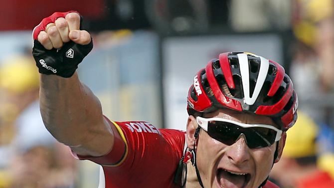 Lotto-Soudal rider Greipel of Germany celebrates as he wins the 166-km (103.15 miles) second stage of the 102nd Tour de France cycling race from Utrecht to Zeeland