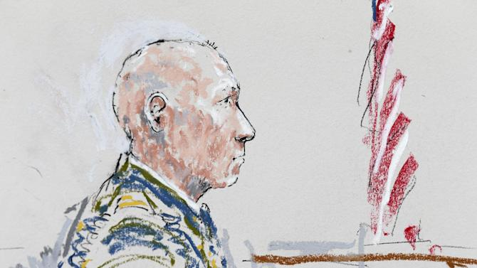In this detail from a courtroom sketch, U.S. Army Staff Sgt. Robert Bales appears Wednesday, June 5, 2013 during a plea hearing in a military courtroom at Joint Base Lewis-McChord in Washington state. Bales is accused of 16 counts of premeditated murder and six counts of attempted murder for a pre-dawn attack on two villages in Kandahar Province in Afghanistan in March, 2012. (AP Photo/Peter Millett)