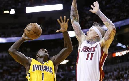 Pacers' Stephenson goes up to shoot against Heat's Andersen during Game 1 of their NBA Eastern Conference final basketball playoff in Miami
