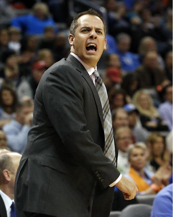 Indiana Pacers head coach Frank Vogel shouts during the third quarter of an NBA basketball game against the Oklahoma City Thunder in Oklahoma City, Sunday, Dec. 8, 2013. Oklahoma City won 118-94