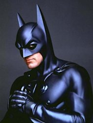 UNDATED PUBLICITY PHOTOGRAPH - Actor George Clooney portrays &quot;Batman&quot; in the film &quot;Batman & Robin&quot; in this undated publicity photograph.