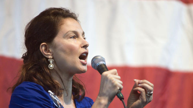 FILE - In this Nov. 1, 2008  file photo, actress Ashley Judd, a Kentucky native, speaks at a Democratic get-out-the-vote rally in Louisville, Ky. Judd announced Wednesday she won't run for U.S. Senate in Kentucky against Republican Leader Mitch McConnell, saying she had given serious thought to a campaign but decided her responsibilities and energy need to be focused on her family. (AP Photo/Brian Bohannon, File)