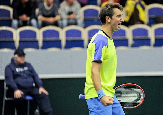 Ukraine's Sergiy Stakhovsky (seen here playing Sweden last April) and the rest of his Davis Cup team will have to find another place to play, after th...