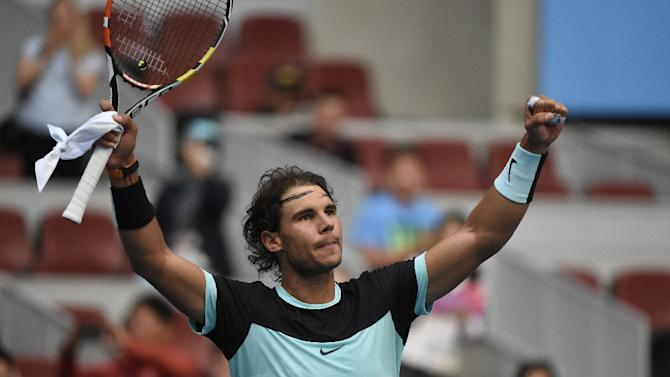 Rafael Nadal of Spain celebrates his victory over Jack Sock of the US in their men's singles quarter-final match at the China Open in Beijing on October 9, 2015