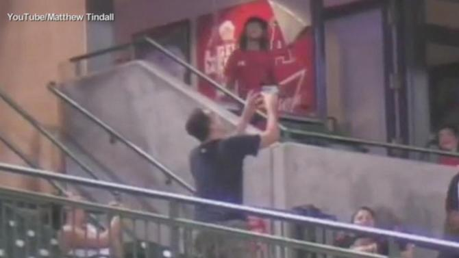 Baseball Fan Catches Foul Ball With Cup