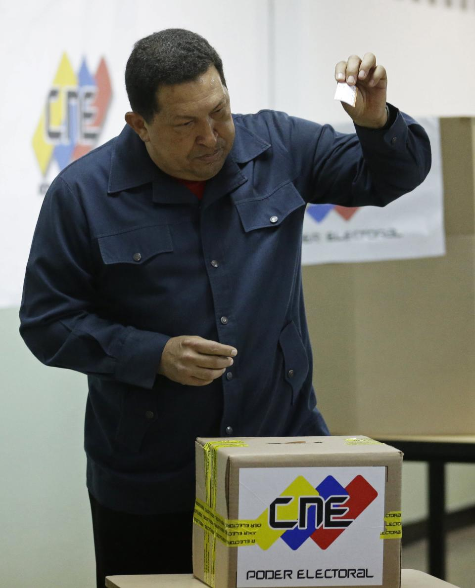 Venezuela's President Hugo Chavez casts his ballot at a polling station during the presidential election in Caracas, Venezuela, Sunday, Oct. 7, 2012. Chavez is running for re-election against opposition candidate Henrique Capriles. (AP Photo/Fernando Llano)
