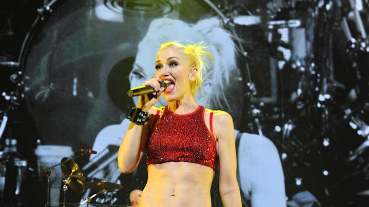"IMAGE DISTRIBUTED FOR REBEL WALTZ - Gwen Stefani of No Doubt performs in support of ""Push and Shove"" at Gibson Amphitheatre in Universal City, Calif., on Saturday Nov. 24, 2012. The band has booked a seven night residency of shows at the Gibson Amphitheatre. (Photo by John Shearer/ Invision for Rebel Waltz/AP Images)"
