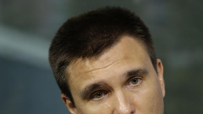 Ukrainian Foreign Minister Pavlo Klimkin is photographed during an interview with The Associated Press, Thursday, July 30, 2015 at United Nations headquarters.  (AP Photo/Mary Altaffer)