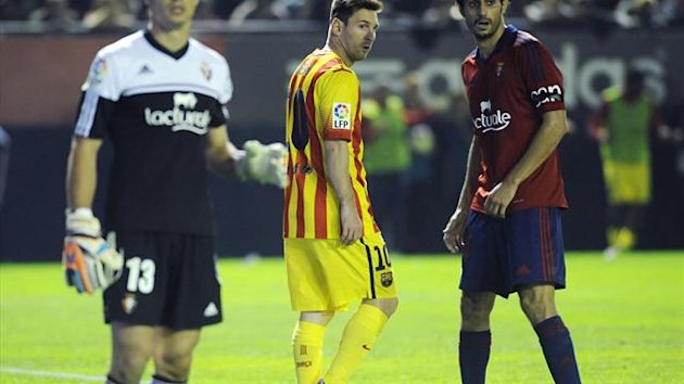 Lionel Messi for Barcelona at Osasuna (AFP)