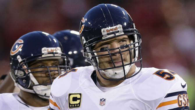 FILE - In this Nov. 19, 2012, file photo, Chicago Bears middle linebacker Brian Urlacher (54) warms up before an NFL football game against the San Francisco 49ers in San Francisco. The Bears announced on Wednesday, March 20, 2013, that they were unable to reach a contract agreement with Urlacher, who is an unrestricted free agent for the first time in his career. (AP Photo/Marcio Jose Sanchez, File)